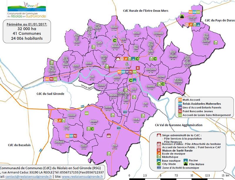 Carte CDC Réolais en Sud Gironde